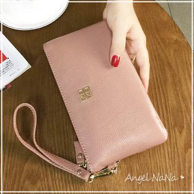 手拿包。AngelNaNa  真皮 牛皮 大容量 手機包 女皮夾 長夾 零錢包 附手腕帶【MA0188】