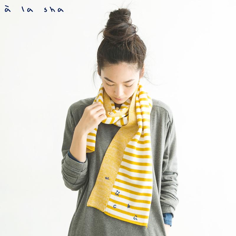 a la sha mucha  MUCHA條紋拼接圍巾