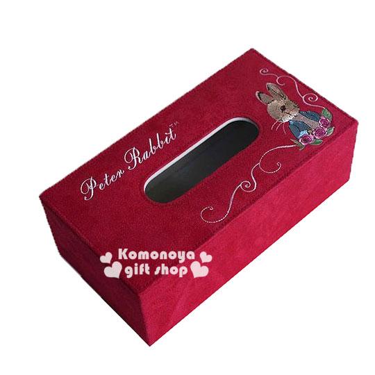〔小禮堂〕彼得兔 仿麂皮刺繡面紙盒《紅.側臉.玫瑰》居家室內.汽車內適用