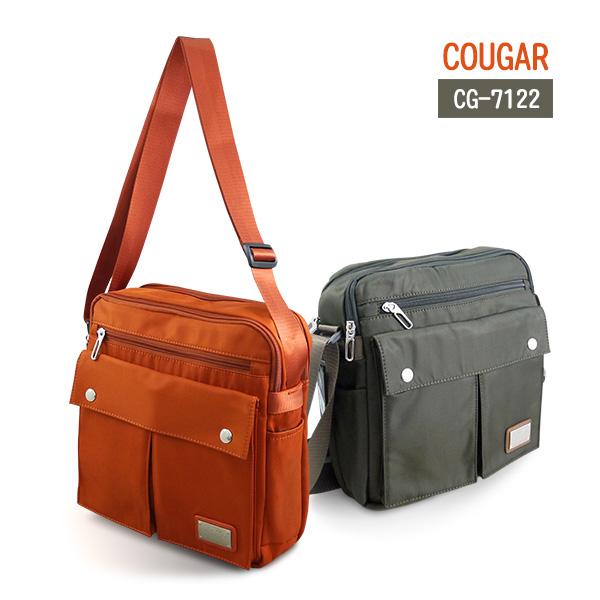 【加賀皮件】 COUGAR 美洲豹 水晶布雙口袋方形鋪棉休閒包/側背包 【CG-7122】