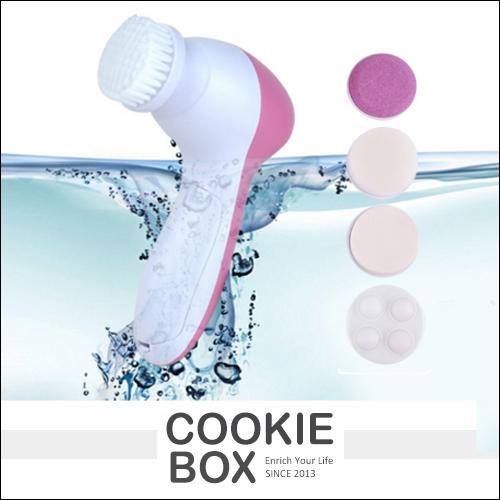 5合1 電動 洗臉器 潔顏 清潔 刷毛 海綿 磨砂 深層 潔淨 改善 膚質 去除 黑頭 肌膚 光滑 *餅乾盒子*