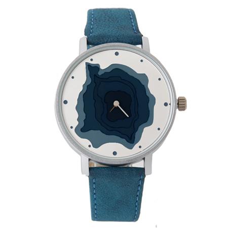 手錶 無數字漸層凹面地形造型質感皮革錶帶腕錶 巧思特別設計 柒彩年代【NE1683】獨特有型