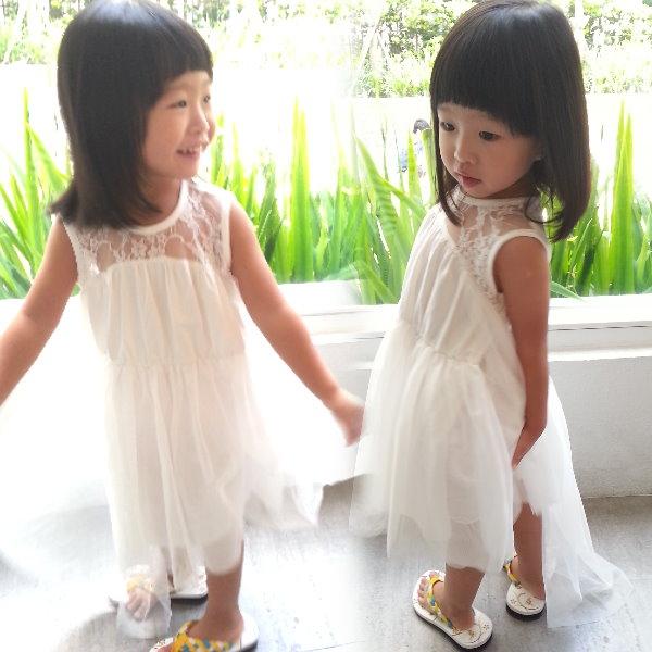 【班比納精品童裝】縷空蕾絲長後擺背心洋裝-白【BN150512003】
