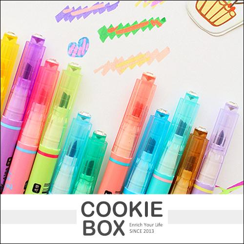 創意 雙頭 魔幻 變色筆 螢光筆 彩色筆 畫重點 做記號 塗鴉 變色效果 *餅乾盒子*