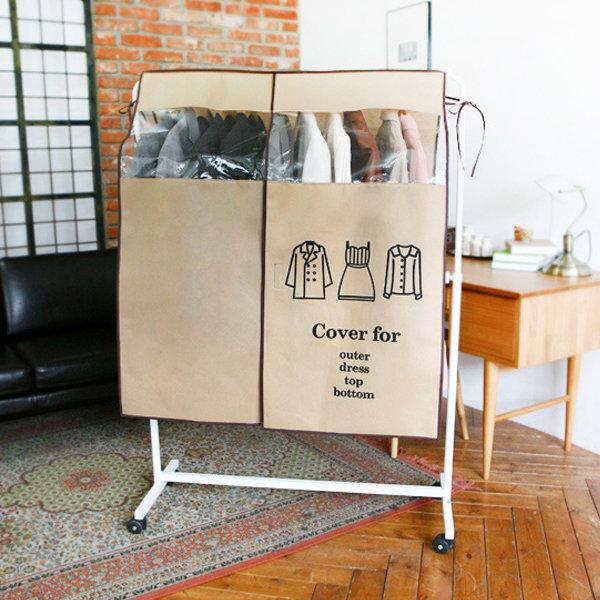 BO雜貨【SV4139】創意高檔加厚無紡布可視加寬衣物防塵罩 大號 衣架罩 大衣外套收納 防塵 衣物收納