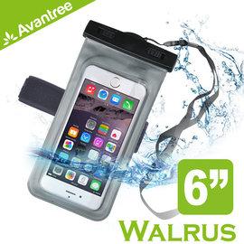 【風雅小舖】【Avantree Walrus運動音樂手機防水袋(可接防水耳機)】附臂帶/頸掛式吊繩 iPhone6 Plus防水套/臂套 游泳/浮潛皆適用
