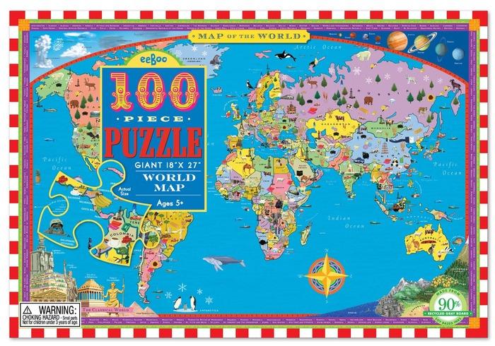 [ eeBoo ]  拼圖 — World Map 100 Piece Puzzle 世界地圖 (100片)