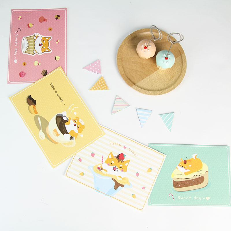 i mail明信片-柴犬&甜點的浪漫史系列(四款) -狗 柴犬 祝福 蛋糕 下午茶
