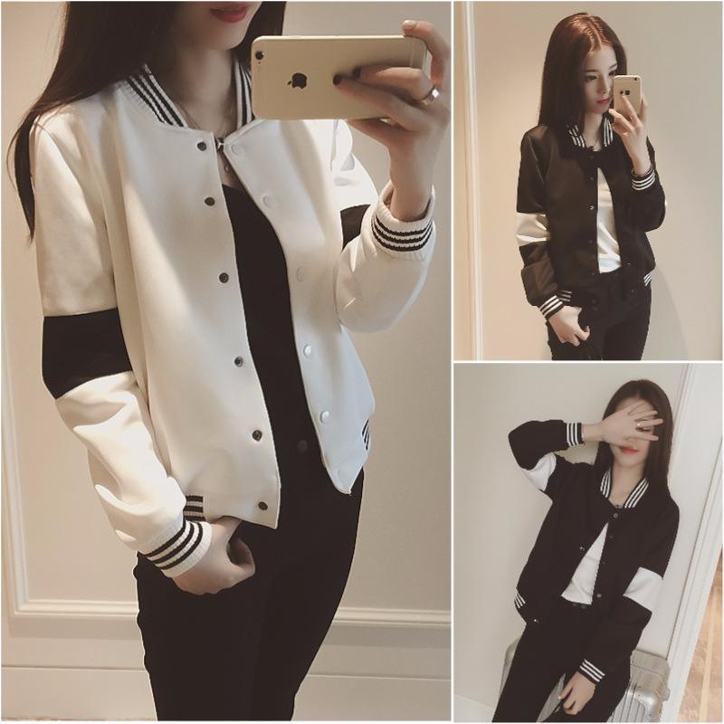 PS Mall 東大門黑白撞色衛衣休閒運動棒球服短外套【T2536】