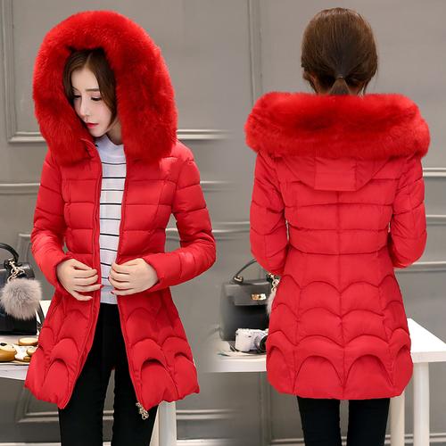 [全店滿700結帳現折$100]SaSa 韓國風保暖大毛領加厚修身輕羽絨外套大衣