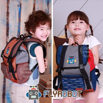 Flyrobot◆可愛俏皮拼色機器人減壓防水透氣雙肩包兒童背包