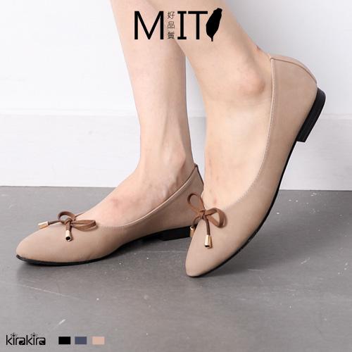 低跟娃娃鞋 SALE 甜美優雅細絨蝴蝶結低跟尖頭包鞋