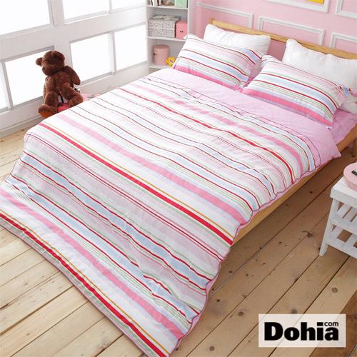《Dohia-紛彩調韻》雙人四件式精梳純棉兩用被薄床包組r★活性環保印染,高成本寬幅布花版!