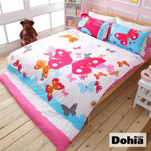 《Dohia-春蝶夢曲》雙人四件式精梳純棉兩用被薄床包組r★活性環保印染,高成本寬幅布花版!