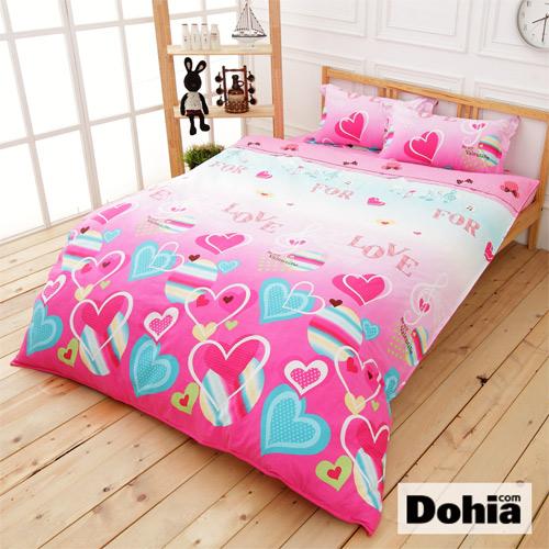 《Dohia-戀紛譜曲》雙人四件式精梳純棉兩用被薄床包組r★高成本寬幅布花版