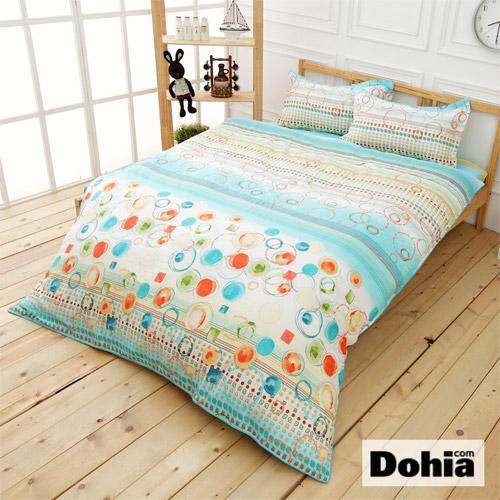 《Dohia-清沫璃玉》雙人四件式精梳純棉兩用被薄床包組r★高成本寬幅布花版