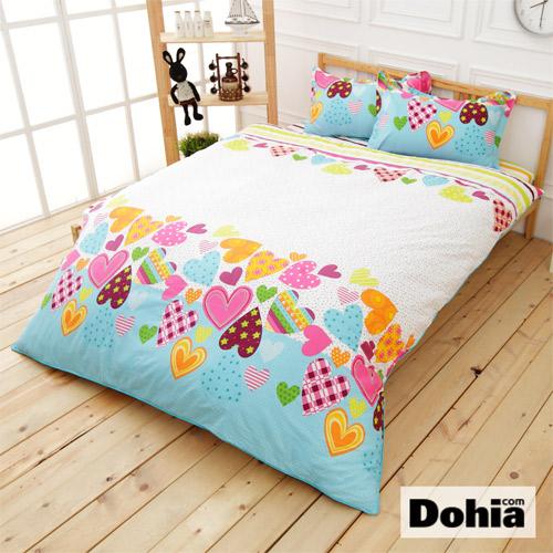 《Dohia-傾愛心夢》雙人四件式精梳純棉兩用被薄床包組r★高成本寬幅布花版