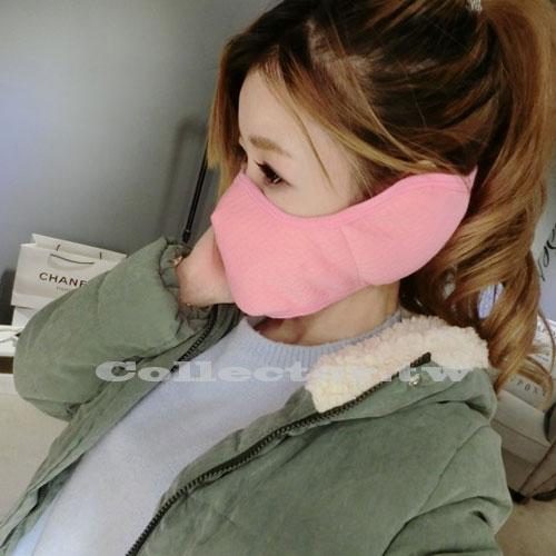 【F16111703】冬季新款二合一護耳口罩加厚保暖騎行口罩純色款 防風 防塵 男女適用 防寒口罩