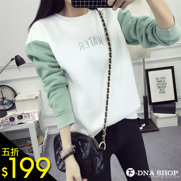 F-DNA★刺繡WATER撞色拼接袖內刷毛厚棉上衣T恤(2色-M-XL)【ESZ1829】