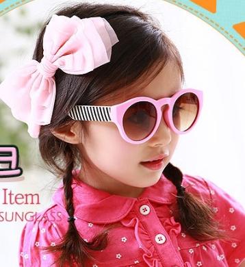 Kocotree◆馬卡龍花樣果色兒童防紫外線護目太陽眼鏡-粉色
