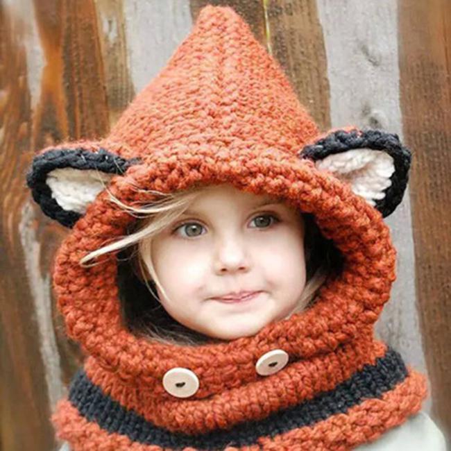 50%OFF【E018836WH】韓版兒童連帽披風狐狸手工帽秋冬毛線針織帽寶寶披肩衣服