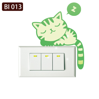 創意時尚無痕環保PVC壁貼牆貼BI013貪睡貓開關貼防水不傷牆面可重覆撕貼