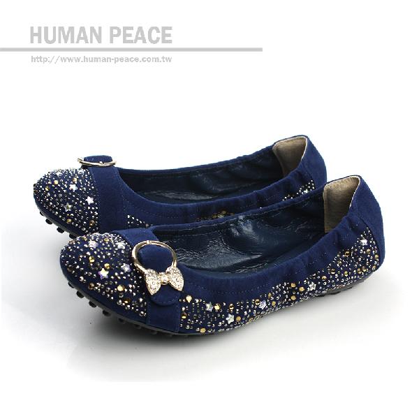 HUMAN PEACE 皮革 舒適 好穿脫 戶外休閒鞋 藍色 女鞋 no183