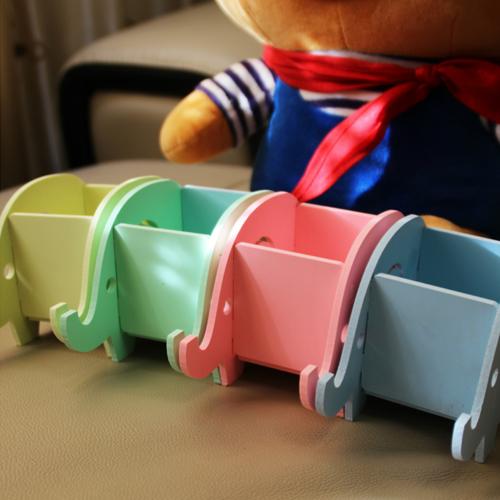 DIY組裝木塑板 大象造型手機支架 手機座 筆筒 置物桶通用手機支架 創意木質可愛手機支架