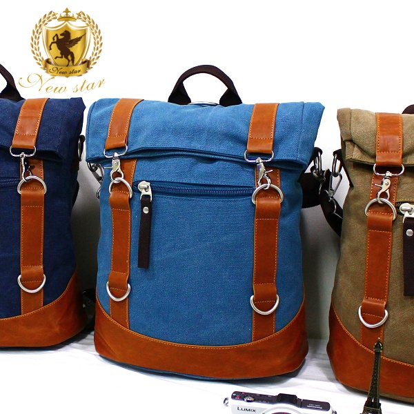 帆布包 韓系配皮雙扣反折後背包側背包筆電包 NEW STAR BK164