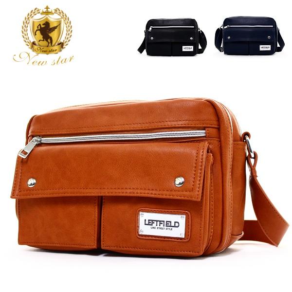 側背包 經典日系質感皮質鐵牌雙口袋斜背包porter風 NEW STAR BL125
