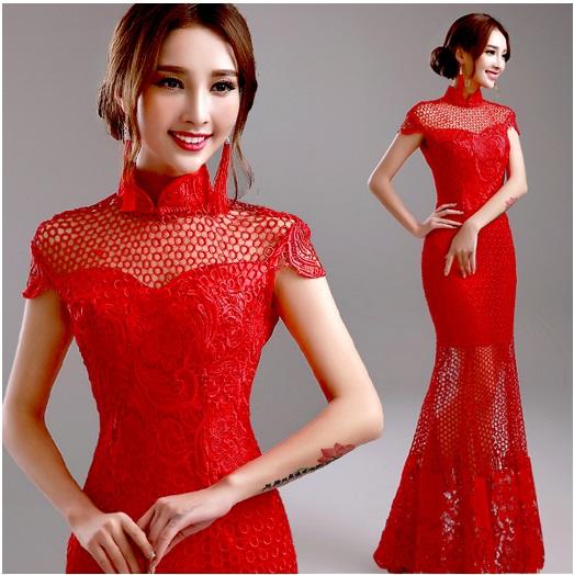 天使嫁衣【AE081】紅色鏤空魚尾改良式旗袍長禮服˙下架