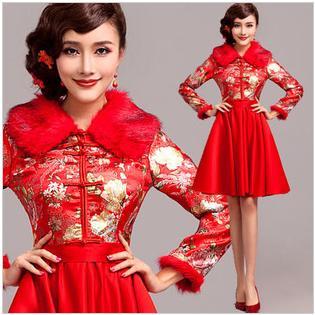 天使嫁衣【AE2052】紅色冬季改良式旗袍短禮服˙下架