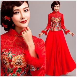 天使嫁衣【AE2080】紅色冬季兩件式旗袍長禮服˙預購訂製款