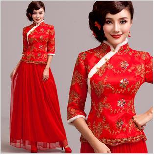 天使嫁衣【AE2120】紅色中袖兩件式旗袍長禮服˙預購訂製款