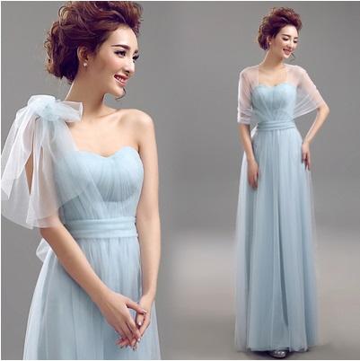 天使嫁衣【AE8716】淺藍色百變多穿法網紗伴娘長禮服˙預購訂製款