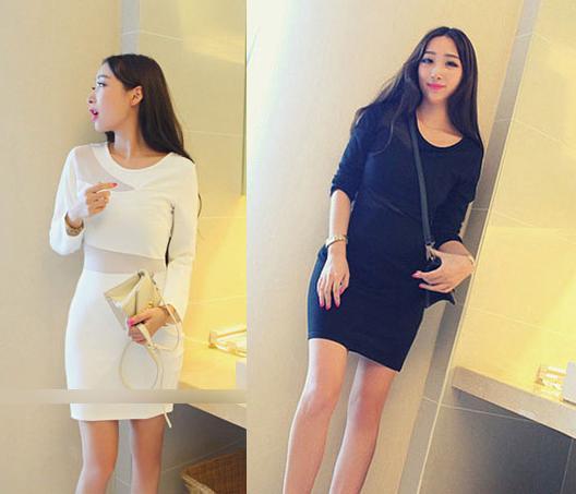 天使嫁衣【EL20311】白色長袖腰間網紗一字拼接修身顯瘦包臀洋裝˙現貨特價出清