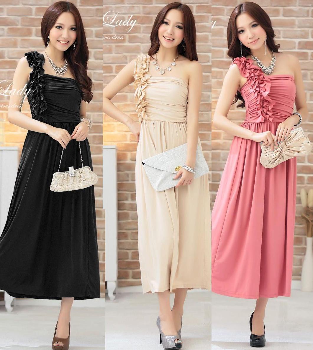 天使嫁衣【HL2810素】3色中大尺碼單肩花朵水晶棉長洋裝禮服˙預購訂製款