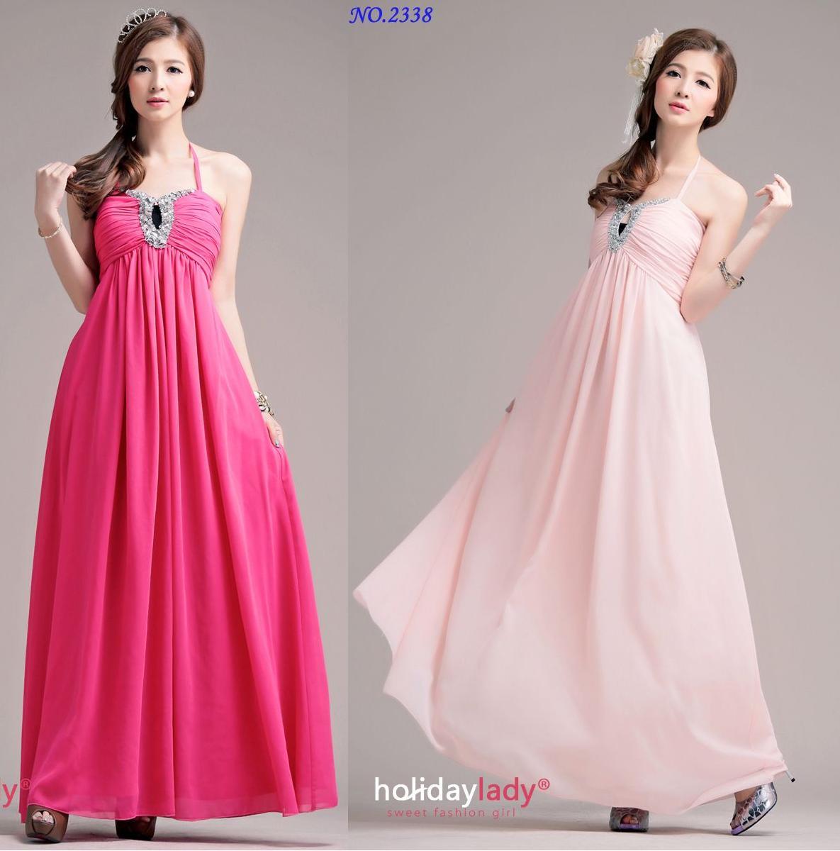 天使嫁衣【HL2338】2色複合絲美胸綁帶長洋裝禮服˙預購訂製款