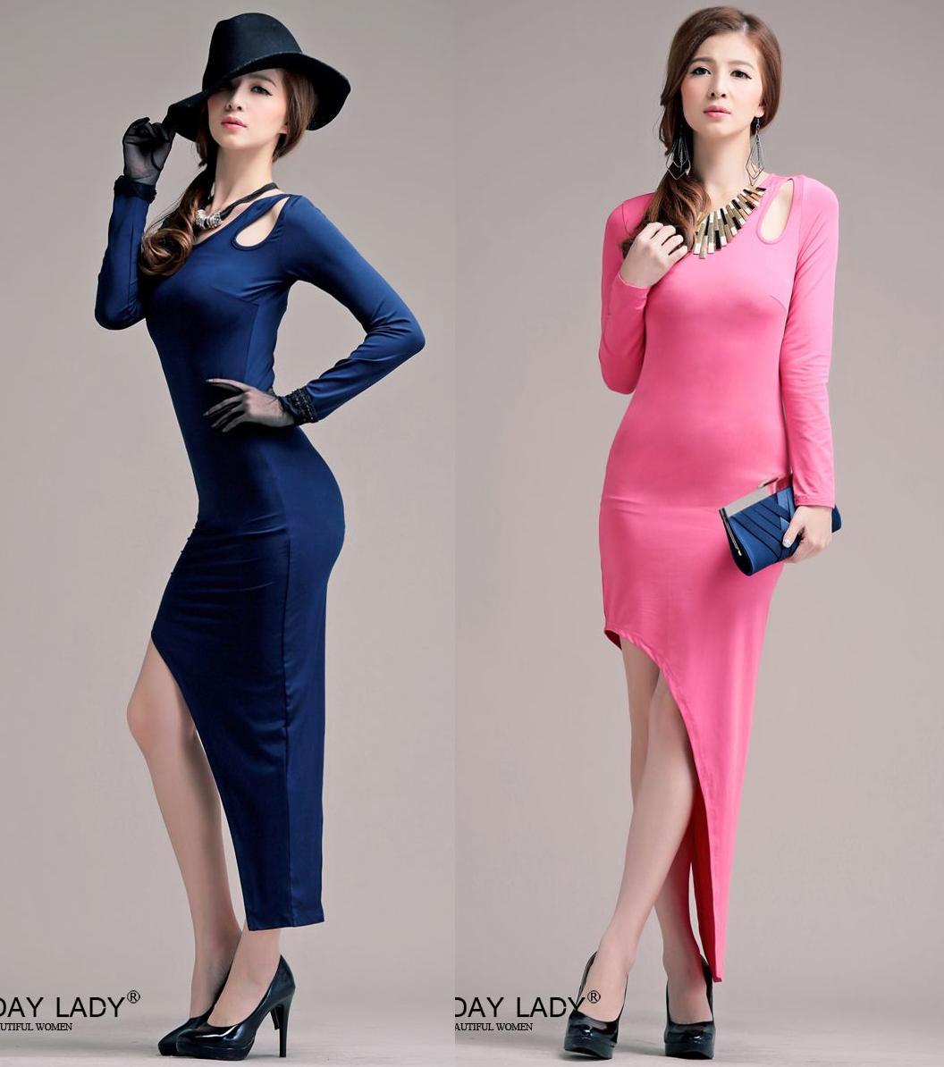 天使嫁衣【HL8002】2色中大尺碼水晶棉純色斜裙擺長洋裝禮服-預購