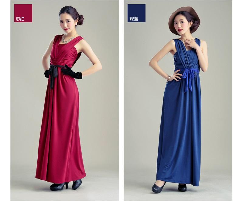 天使嫁衣【HLWM8018】暗紅色中大尺碼高貴氣質前後大V撞色腰帶性感長洋裝禮服-下架