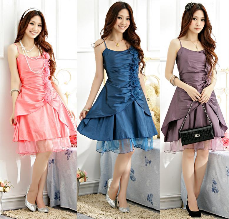 天使嫁衣【J2K1179】2色中大尺碼甜美公主分叉式洋裝小禮服-預購