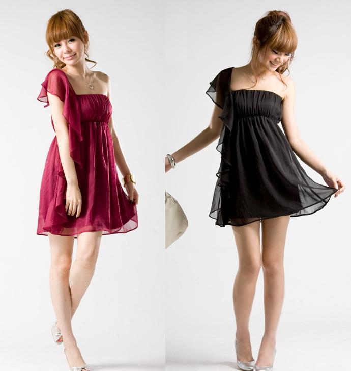 天使嫁衣【J2K1666】2色單肩雪紡洋裝小禮服˙預購