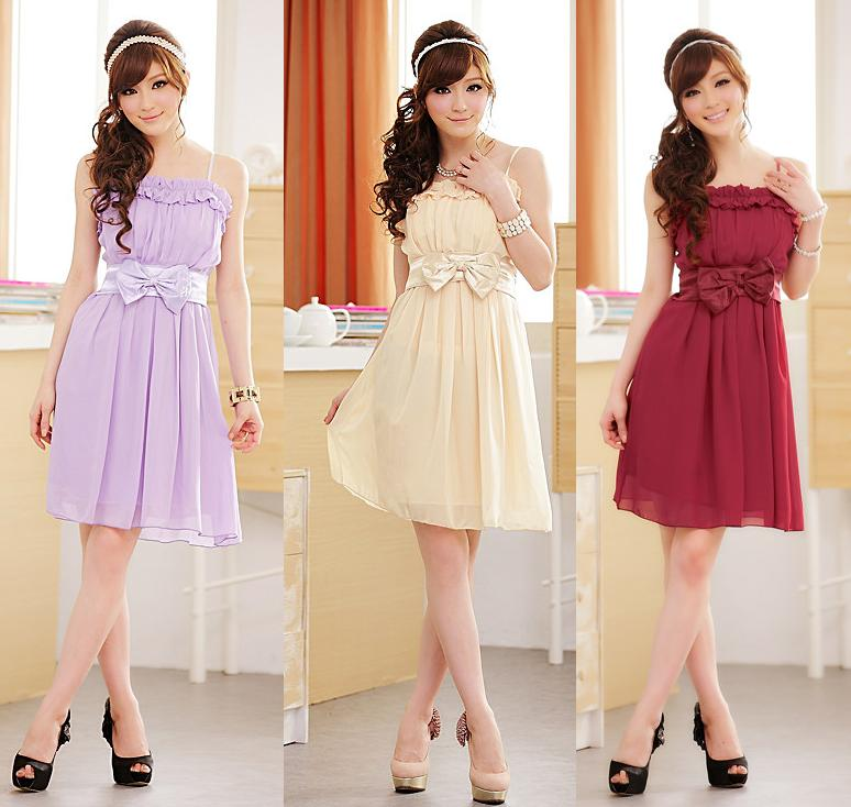 天使嫁衣【J2K8206】3色時尚蝴蝶結吊帶洋裝小禮服˙預購
