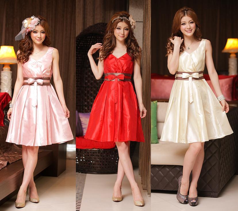 天使嫁衣【J2K8223】3色中大尺碼貴族時尚V領拼色洋裝小禮服˙預購