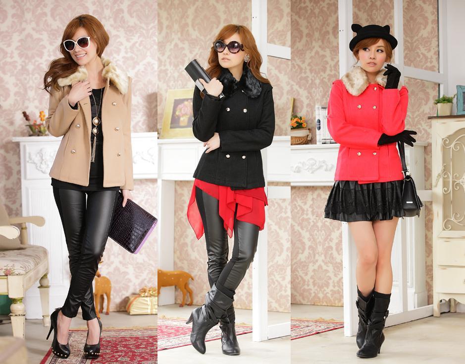 天使嫁衣【JK904】3色韓版經典雙排扣毛領修身冬裝短外套˙預購