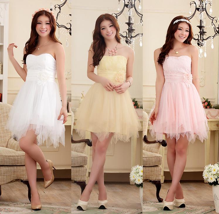 天使嫁衣【J2K9103】3色中大尺碼浪漫蜜月花蕾顯瘦不規則下擺末胸洋裝小禮服˙預購訂製款