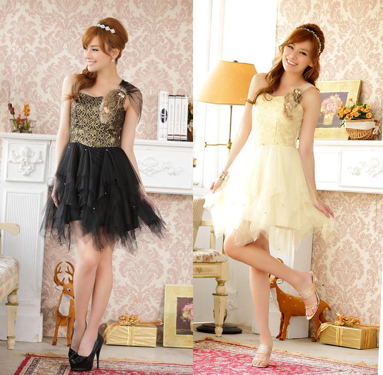 天使嫁衣【J2K9201】2色時尚單肩瀨兔毛網紗公主洋裝小禮服˙預購