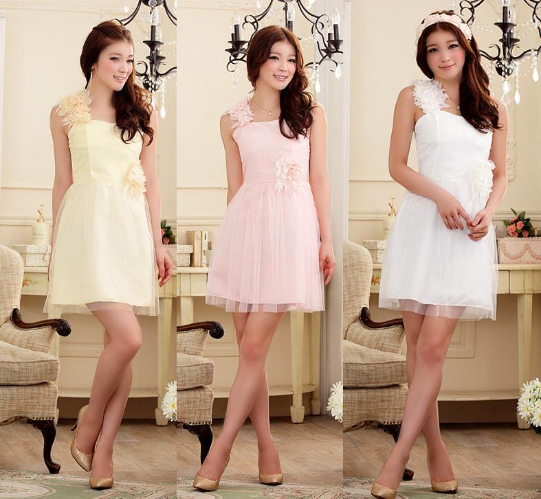 天使嫁衣【J2K9205】3色氣質單肩花苞網紗吊帶洋裝小禮服˙預購