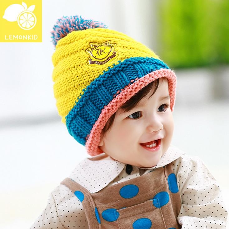 Lemonkid◆秋冬可愛彩色毛球亮眼糖果配色徽章兒童編織毛線帽-黃色