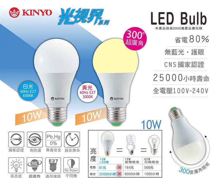 KINYO 耐嘉 HLED-10 LED燈泡 10W/超廣角/高防護/工廠/商店/餐廳/辦公室/照明工具/高亮度/護眼/不閃爍/通過CNS國家認證